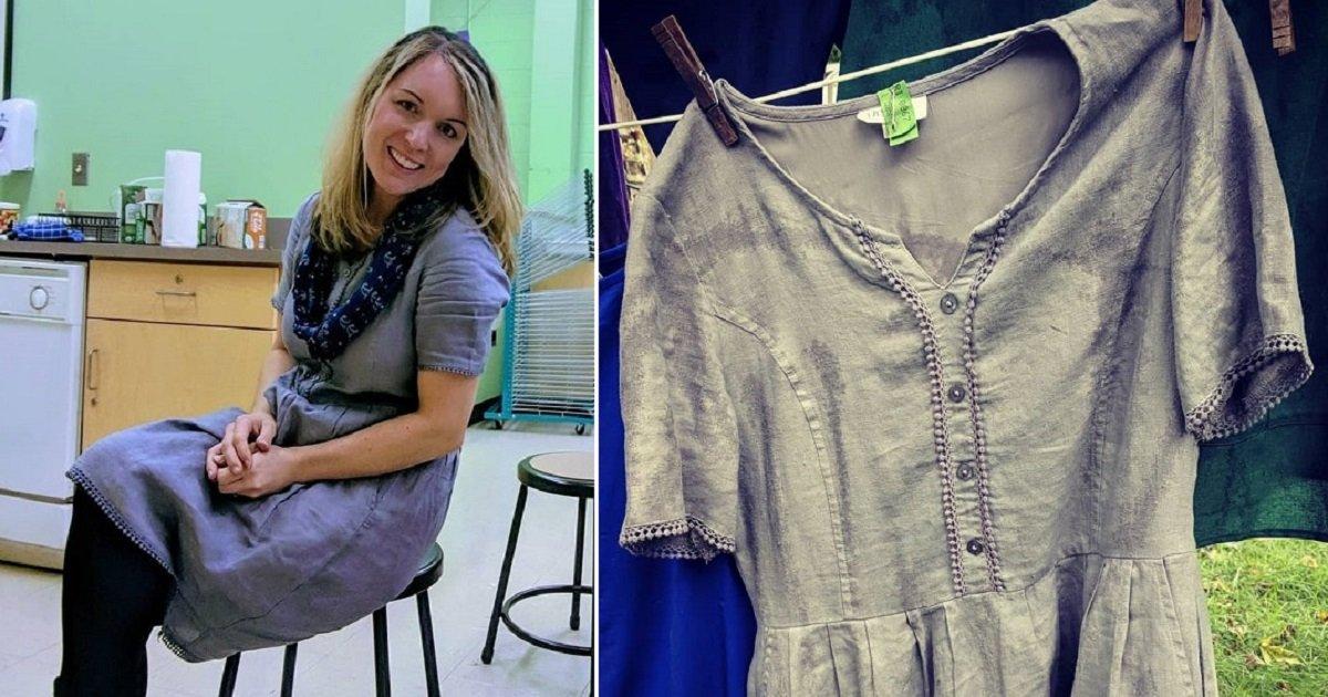 f4.jpg?resize=412,232 - Une enseignante a porté la même robe pendant 100 jours d'affilée pour se révolter contre le consumérisme