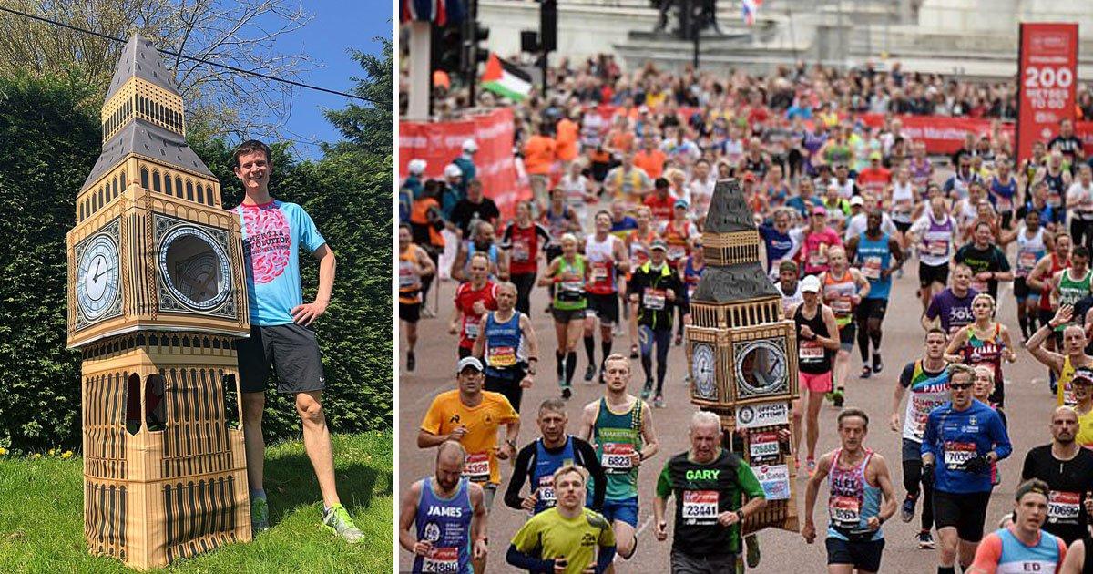 marathon runner as big ben.jpg?resize=1200,630 - London Marathon Runner Dressed As Big Ben Got Stuck While Crossing The Finish Line