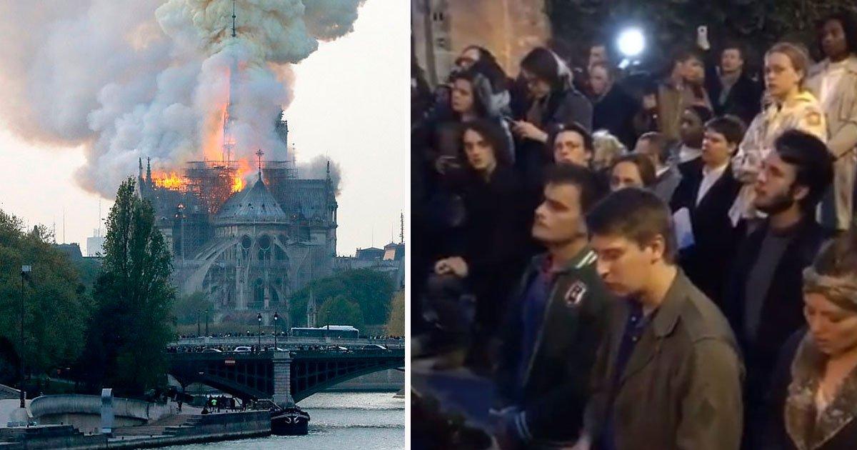 "notre dame blaze 1.jpg?resize=412,232 - Heartbreaking Video Of Bystanders Singing ""Ave Maria"" During Notre Dame Blaze"