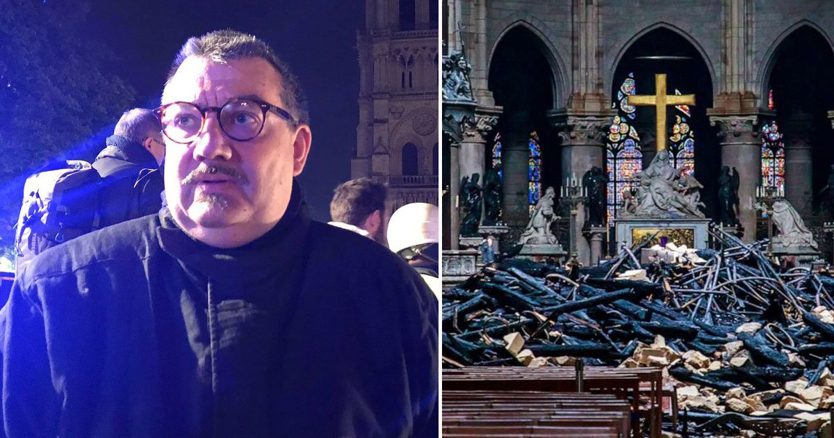 notre dame blaze.jpg?resize=412,232 - Priest Risked His Own Life To Save Jesus Christ's Crown Of Thorns During Notre Dame Blaze