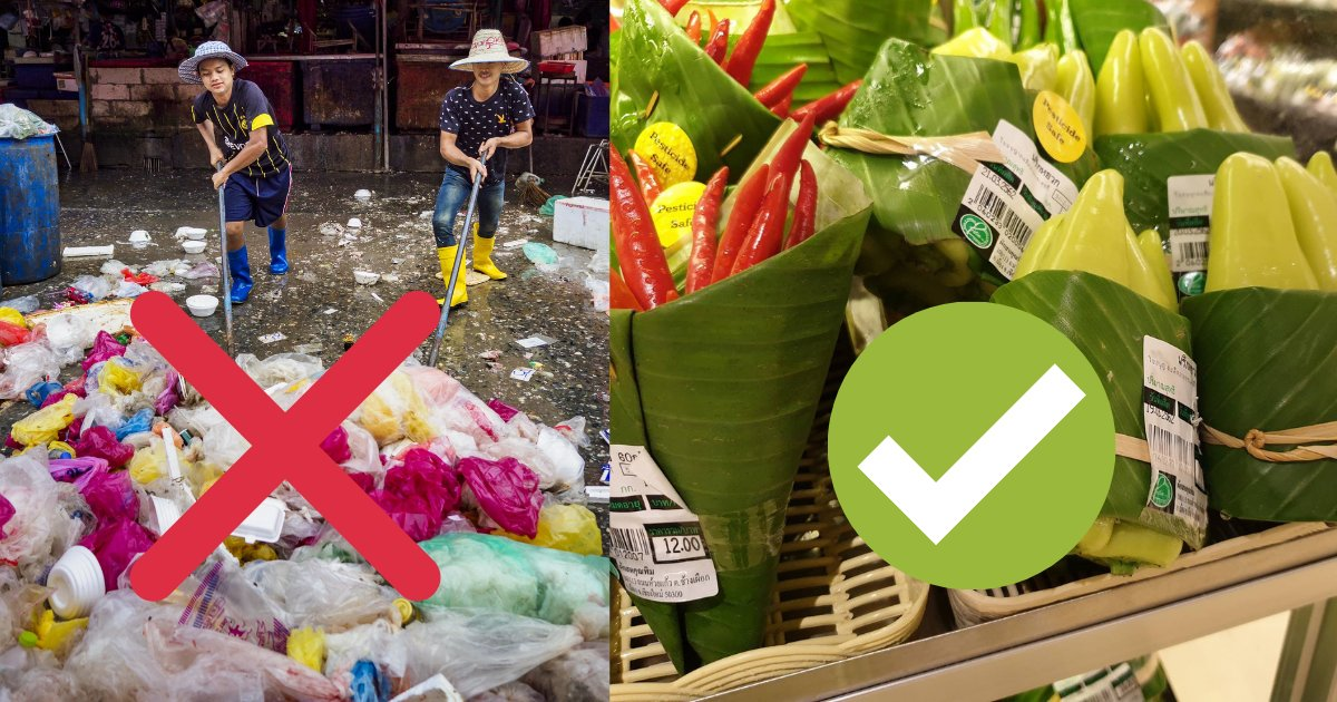 s1 6.png?resize=1200,630 - Banana Leaves Instead of Plastic Bags; A Great Idea is Being Used by Supermarkets in Asia