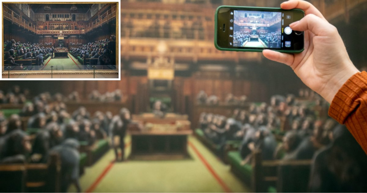 s1.png?resize=412,232 - Artist Created A Painting of Ministers Replaced With Apes, Sitting In Parliament and Was Exhibited to Mark Brexit Day