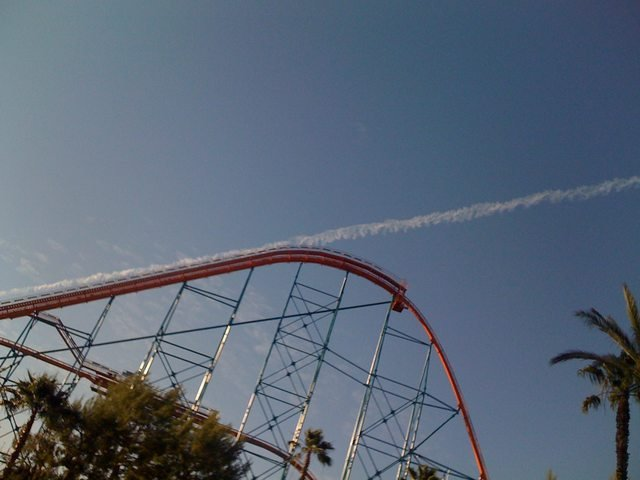 The contrail makes it look like this roller coaster launched into space.