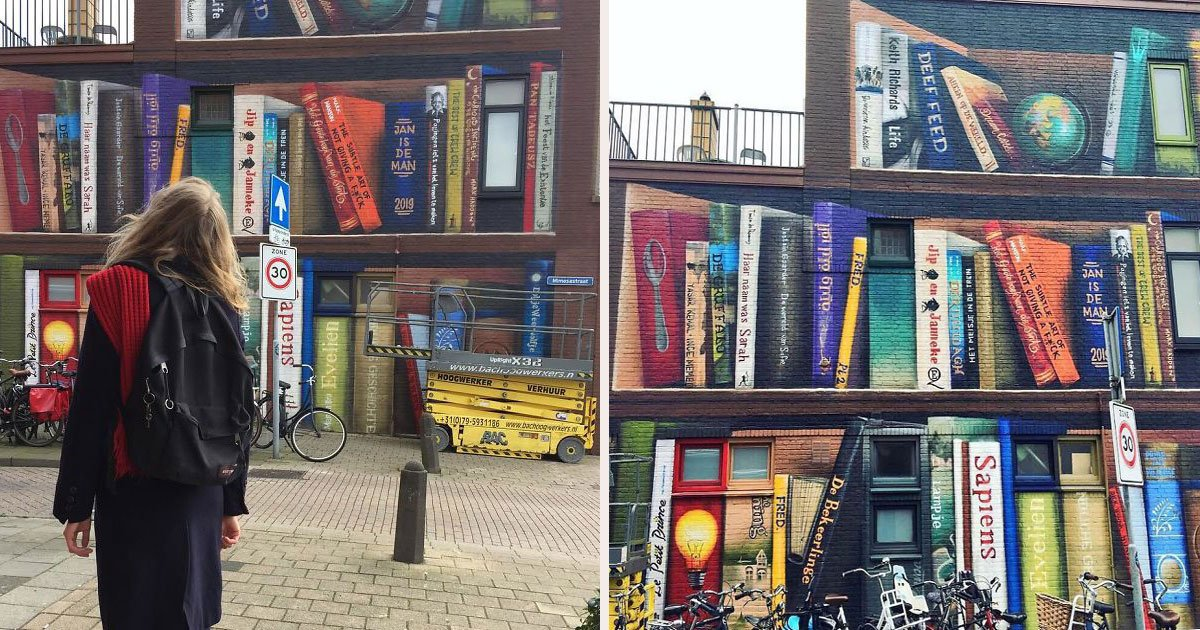 untitled 1 38.jpg?resize=1200,630 - Dutch Artists Paint A Giant Bookcase On An Apartment Building Featuring Residents' Favorite Books