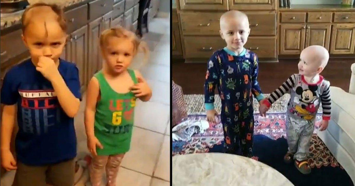 untitled 1 43.jpg?resize=412,232 - Un petit garçon a trouvé un rasoir électrique et a rasé la moitié des cheveux de sa sœur, laissant sa mère en larmes
