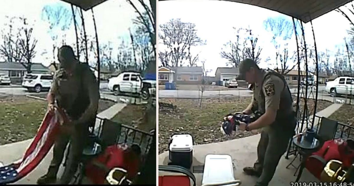 untitled 1 44.jpg?resize=412,232 - Doorbell Camera Captured Missouri Sheriff Deputy Saving The American Flag From Touching The Ground