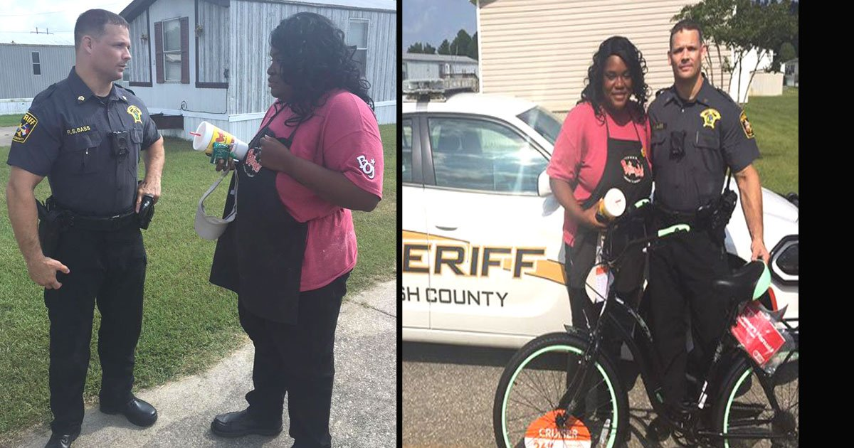 untitled 1 62.jpg?resize=1200,630 - Kind-Hearted Cop Surprised A Woman Who Walks 12 Miles To Work With A Bike