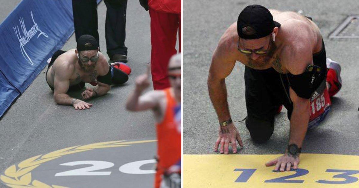 veteran marathon.jpg?resize=412,232 - Marine Veteran Took Part In Boston Marathon And Crawled To Finish The Race To Honor Fallen Comrades