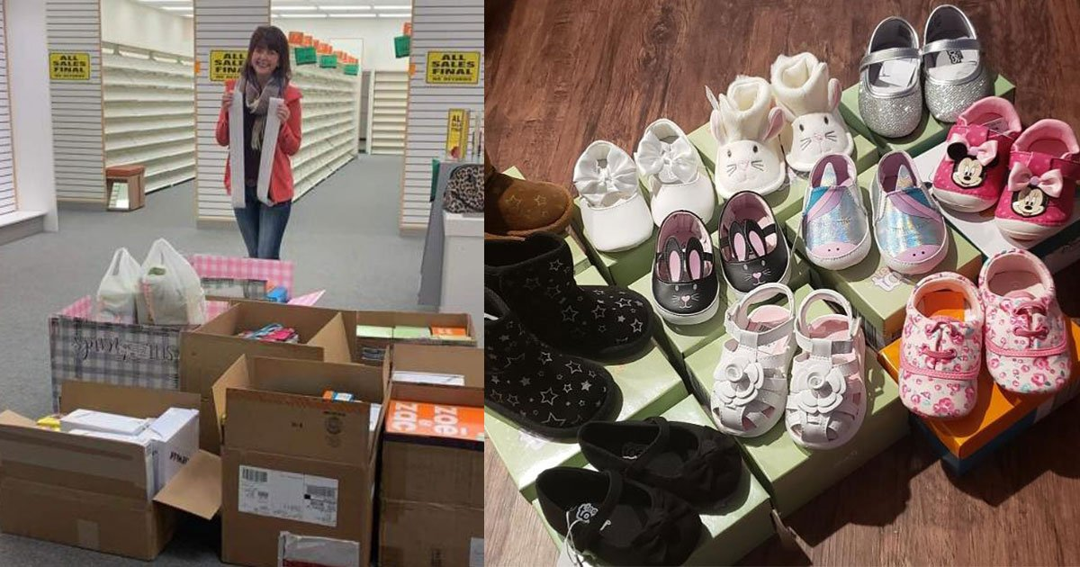 woman bought every shoe at payless to donate them all to nebraska flood victims.jpg?resize=412,232 - Woman Bought All The Shoes At Payless To Donate Them To Nebraska Flood Victims