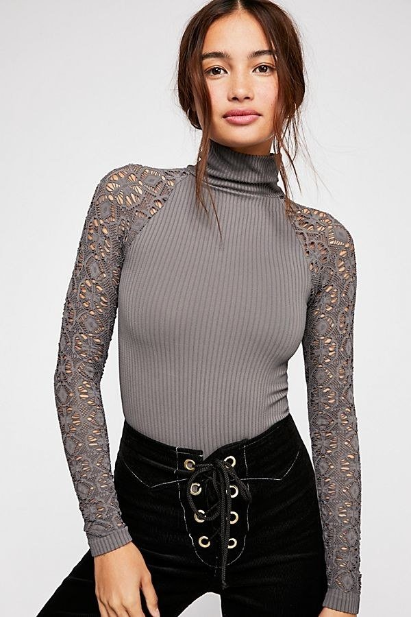 "Promising review: ""This is one of my favorite tops from Free People! The mink color is beautiful, and the sleeves are lovely, intricate, and unique. The material is soft, and the fit is great. I'm really happy with the quality too. I highly recommend!"" —kbaker60Price:  (available in sizes XS/S and M/L and in seven colors)"