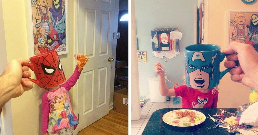 a1 14.jpg?resize=1200,630 - Pai usa canecas de personagens da cultura pop para criar fotos divertidas dos filhos