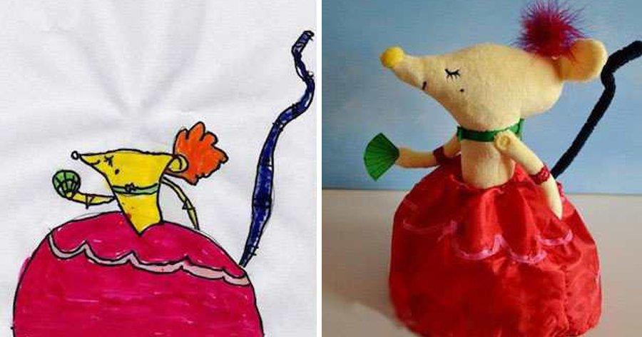 a2 17.jpg?resize=412,232 - Mãe surpreende filho transformando seus desenhos em verdadeiros bichos de pelúcia.