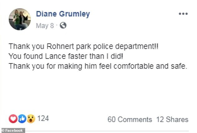 Dina Grumley thanks the Rohnert Park Police Department for finding her son, who went missing earlier that morning