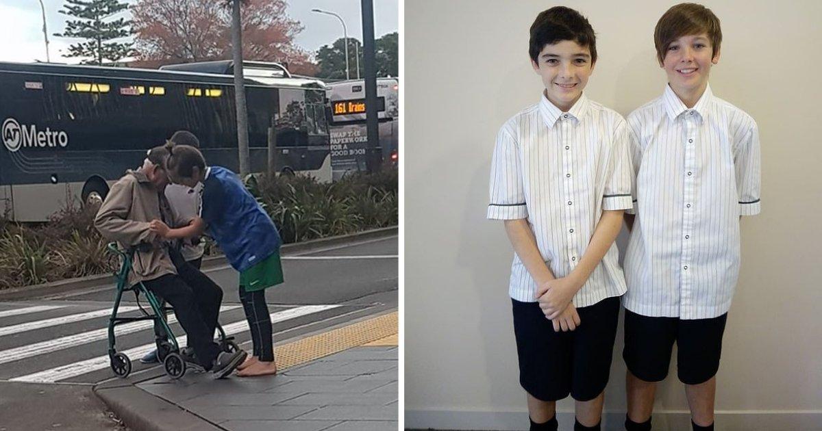 d3 14.png?resize=300,169 - Deux garçons de 13 ans aident un homme âgé à traverser la rue en toute sécurité