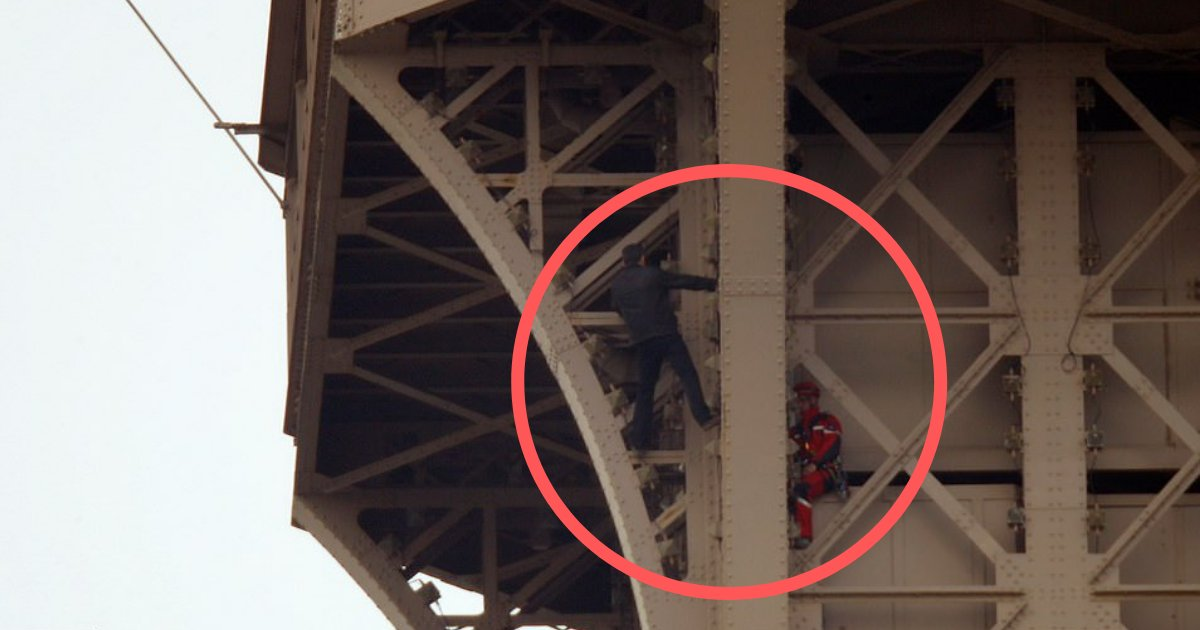 d4 13.png?resize=1200,630 - Police Arrests The Man Who Climbed Halfway Up to the Eiffel Tower