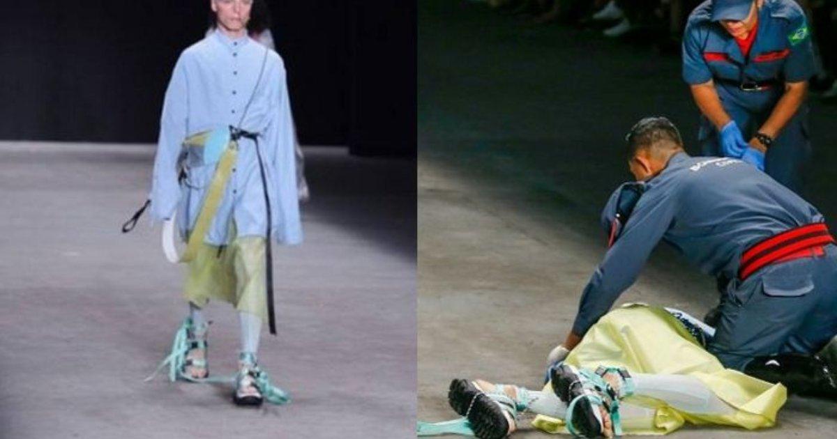 e696b0e5bbbae9a1b9e79bae 25.png?resize=1200,630 - ファッションショーのステージ「靴ひも」を踏んで倒れたモデル、その場で○○しました!?