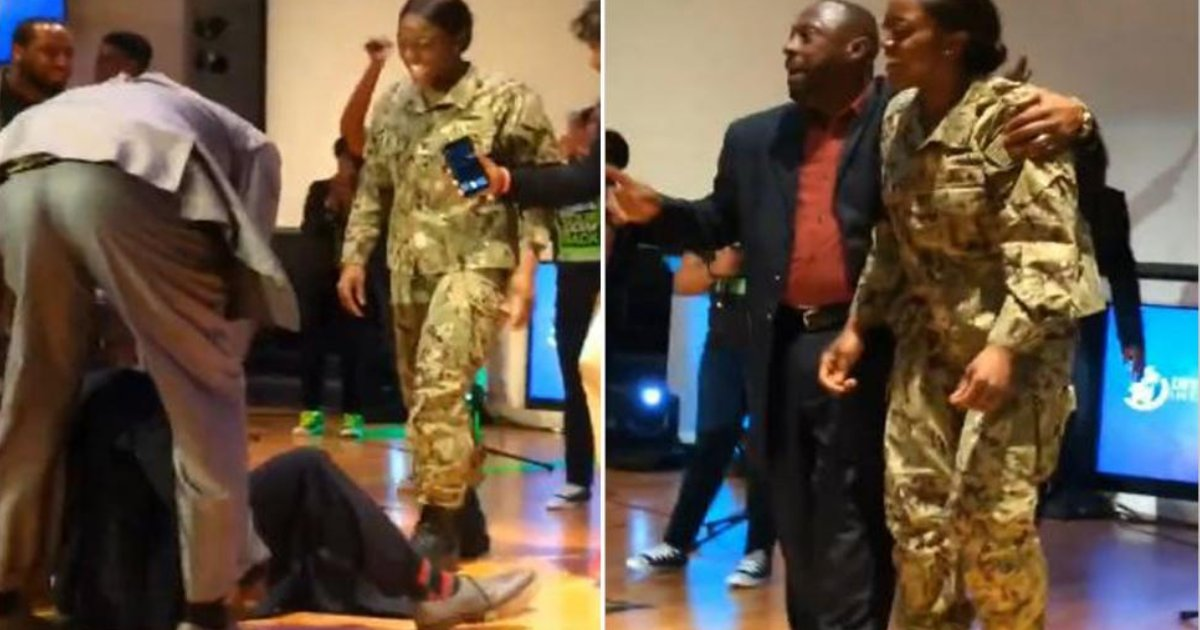 featured image 18.png?resize=412,232 - Dancing Dad Fell On The Stage When Navy Daughter Surprised Him At A Church Event