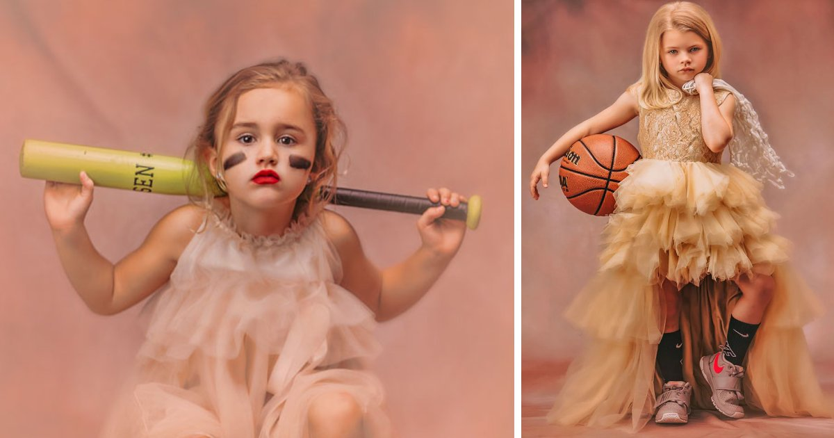 featured image 3.png?resize=1200,630 - Mom's Thought-Provoking Photoshoot Of 'Girly' Girls With Athletic Items To Shatter Gender Stereotypes