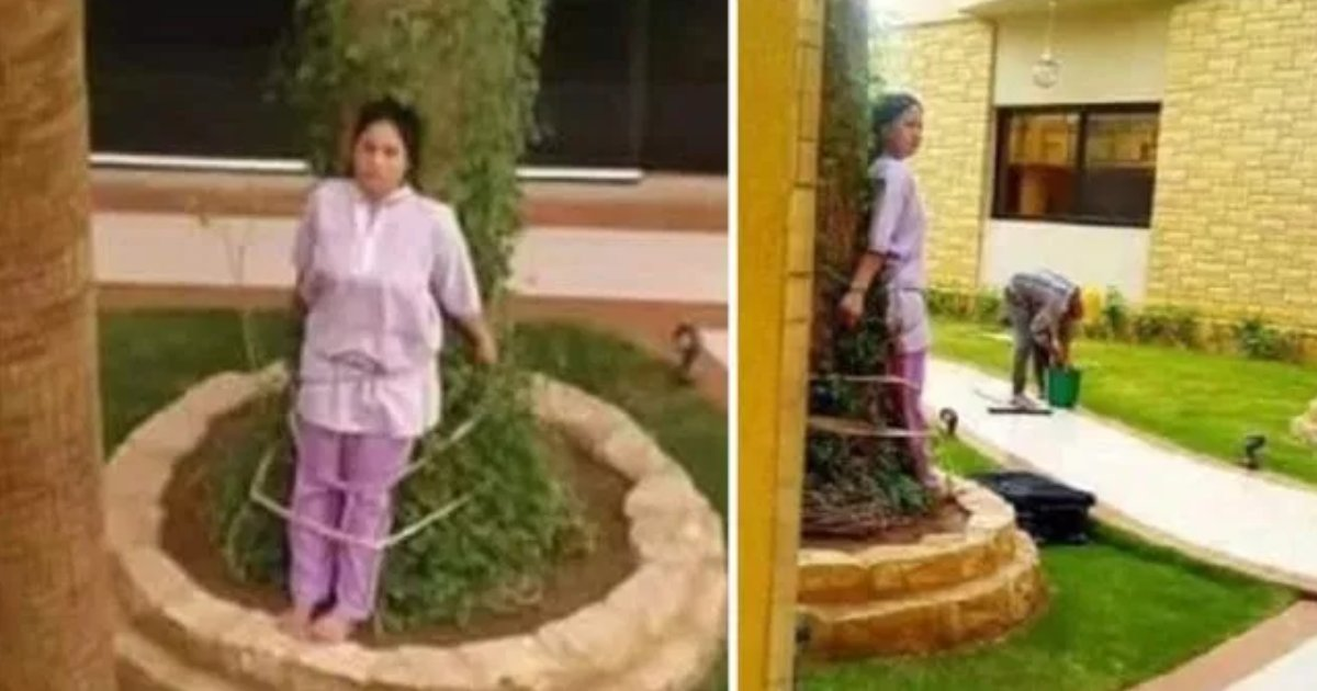featured image 40.png?resize=412,275 - Filipino Maid Tied To A Tree By Wealthy Saudi Employers For Leaving Furniture Outside In The Sun