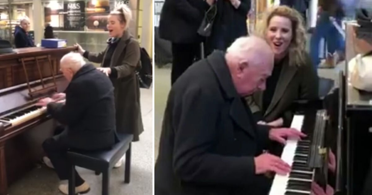featured image 57.png?resize=300,169 - Beautiful Moment As A Singer Stopped To Perform With 91-Year-Old Piano Player At A Train Station