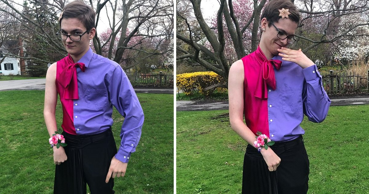 featured image 7.png?resize=1200,630 - Dateless 16-Year-Old Took HIMSELF To School Prom Wearing Half-Suit Half-Dress