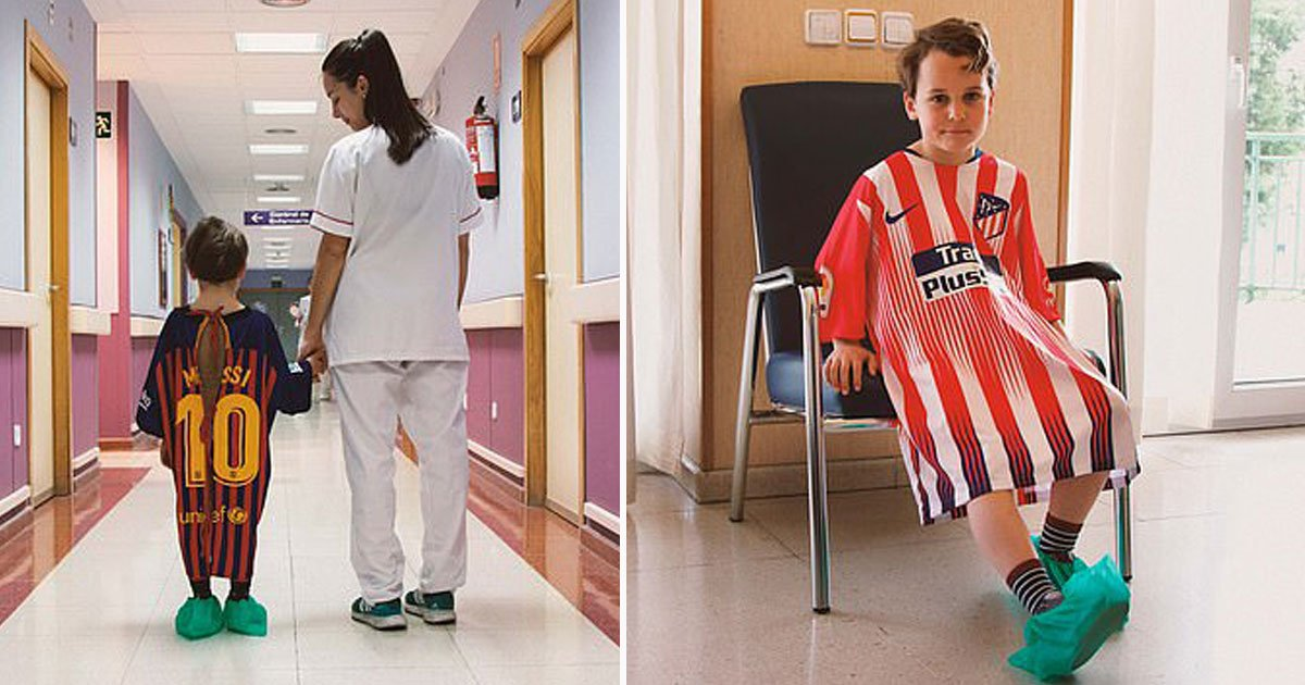 football shirts hospital gowns.jpg?resize=412,232 - Spanish Football Magazine Is Turning Old Football Shirts Into Children's Hospital Gowns To Help Them Recover Faster