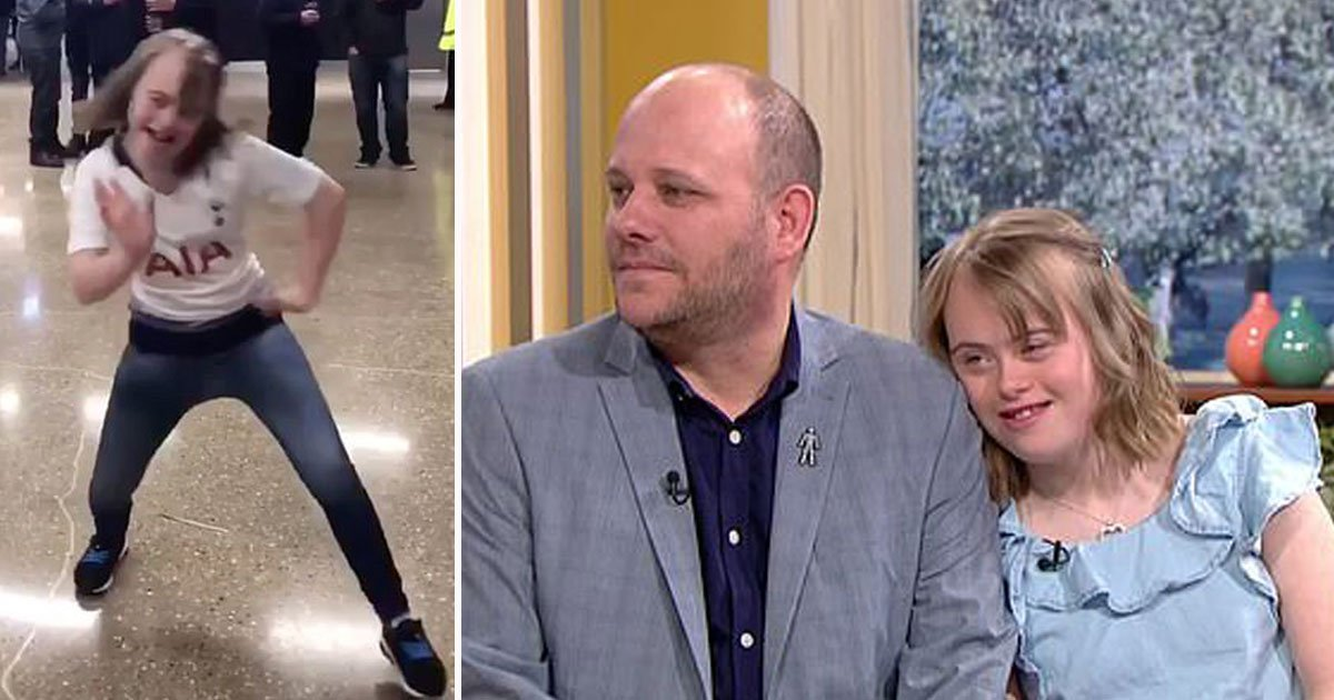 girl trolled this morning.jpg?resize=412,232 - Girl With Down's Syndrome, Who Was Trolled For A Dancing Video, Appeared On This Morning With Her Father Who Slammed Trolls