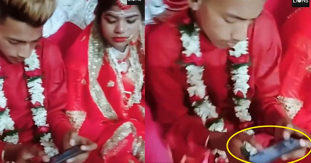 groom ignored his wife during wedding and keeps playing game on mobile.jpg?resize=412,232 - Groom Ignored His Wife And Kept Playing Mobile Game During Their Wedding