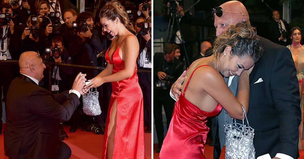 man proposed at cannes.jpg?resize=412,232 - 63-Year-Old Millionaire Greek Club Owner Proposed His 25-Year-Old Reality TV Star Girlfriend On The Cannes Red Carpet