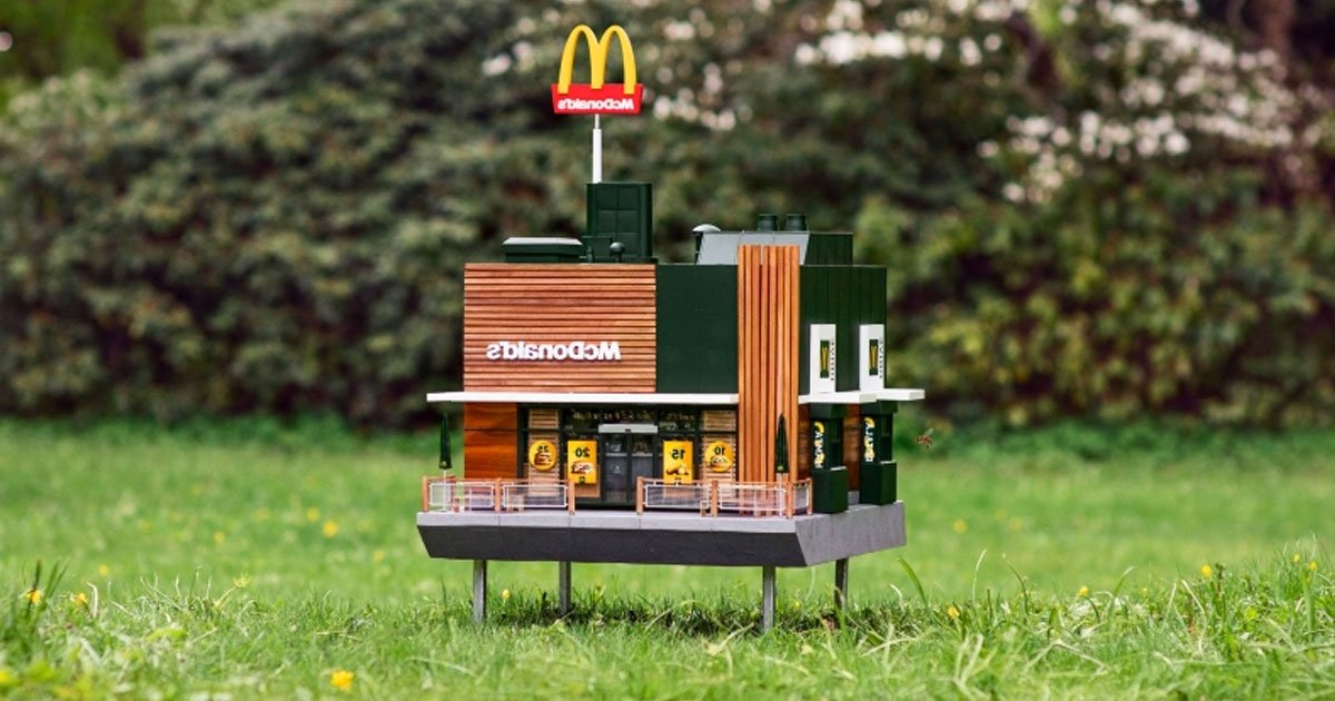 mchive tiny mcdonalds.jpg?resize=1200,630 - World's Smallest McDonald's Restaurant McHive Is Now Open For Bees In Sweden