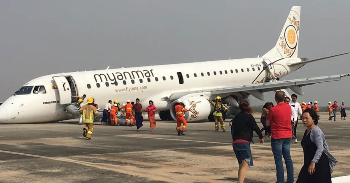 myanmar flight without wheels.jpg?resize=1200,630 - Myanmar Pilot Made Emergency Landing Without Any Front Wheels On His Jet And Saved 89 People On Board