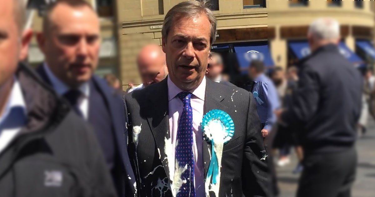 """nigel farage milkshake.jpg?resize=1200,630 - A Protester Threw Milkshake On Nigel Farage In Newcastle - """"I Thought This Is My Only Chance"""" He Said"""