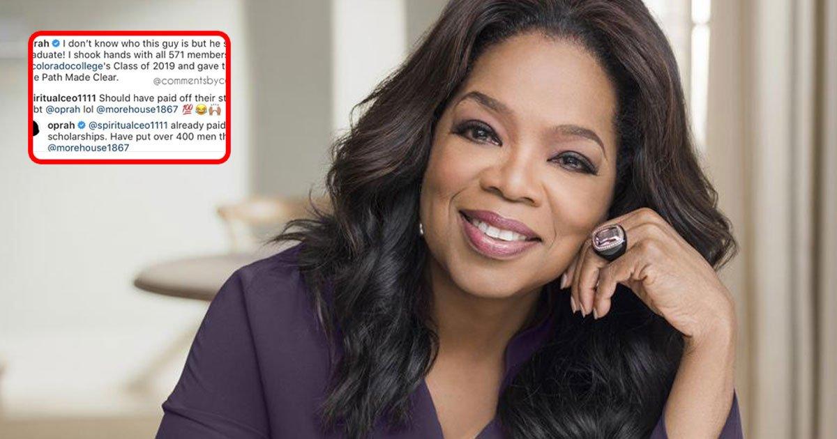 oprah winfrey responded to troller who slammed her for not paying off graduates student loans at commencement speech.jpg?resize=1200,630 - Oprah Winfrey Responded To A Troller Who Slammed Her For Not Paying Off Graduates' Student Loans At Commencement Speech