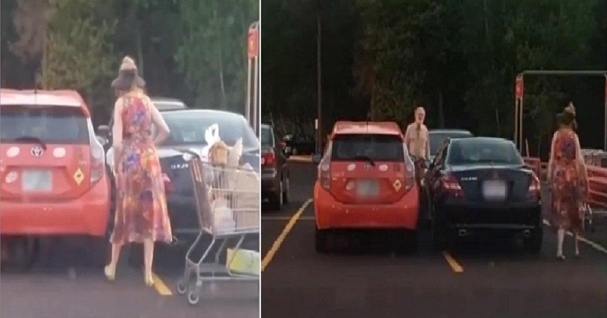 p3 1.jpg?resize=1200,630 - Une femme inconsidérée qui a garé sa Mercedes au-delà de la ligne de stationnement a reçu une leçon embarrassante d'un autre conducteur