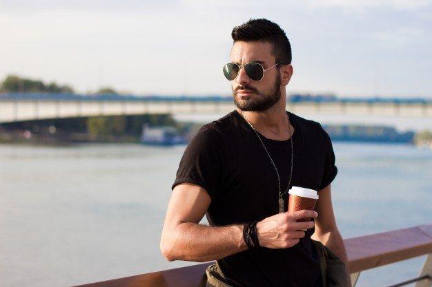 Resultado de imagen de guy drinking coffee