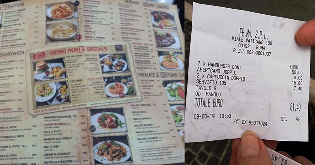 tourist slammed restaurant as they charged 70 for two burgers and three coffees.jpg?resize=300,169 - A Tourist Slammed A Restaurant In Rome That Charged $90 For Two Burgers And Three Coffees