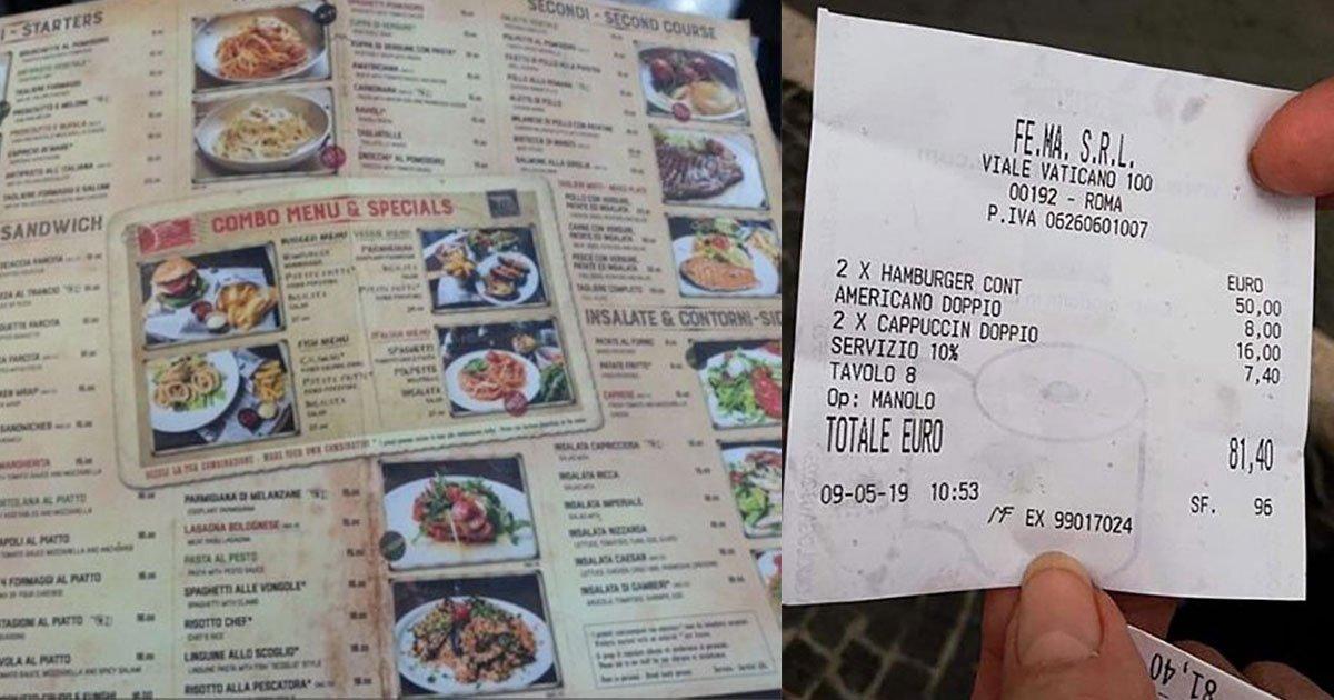 tourist slammed restaurant as they charged 70 for two burgers and three coffees.jpg?resize=412,232 - Un touriste doit payer 81.40€ pour deux hamburgers et trois cafés dans un restaurant à Rome