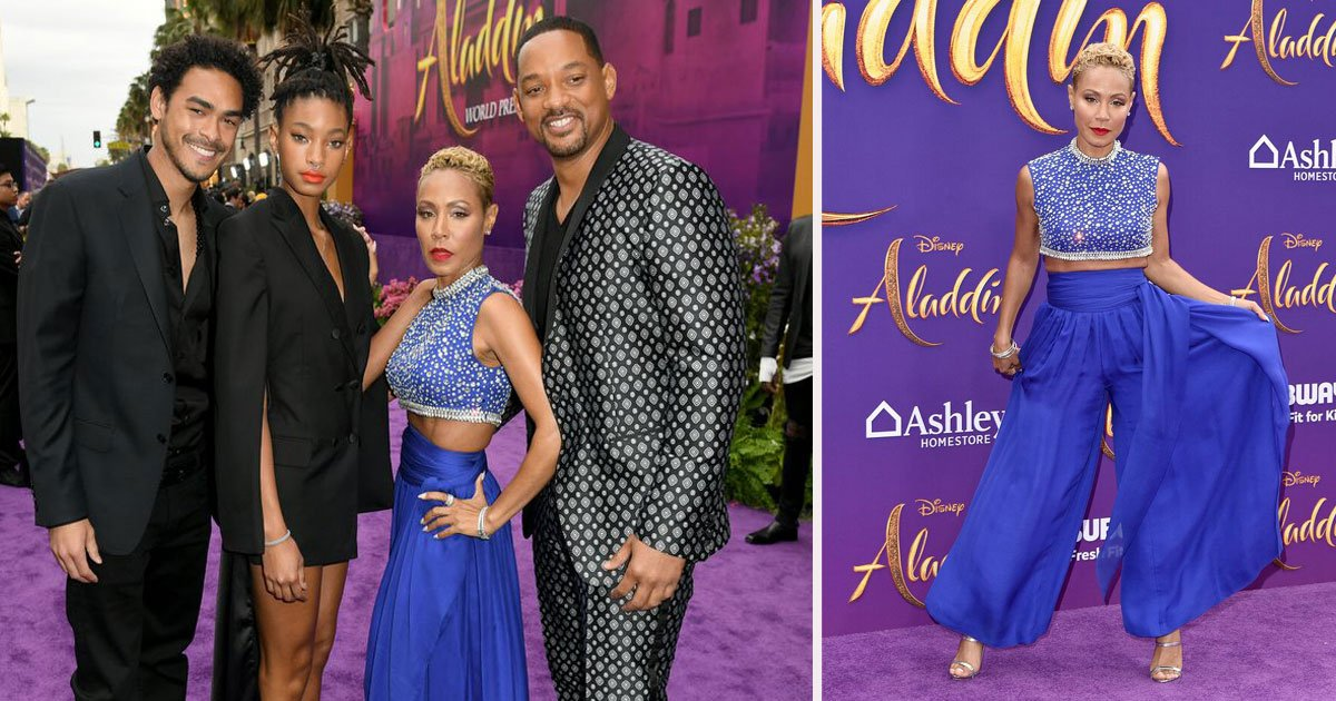 untitled 1 67.jpg?resize=412,232 - Will Smith's Entire Family Joined Him At The Aladdin Premiere, And Jada Dressed As The Genie!