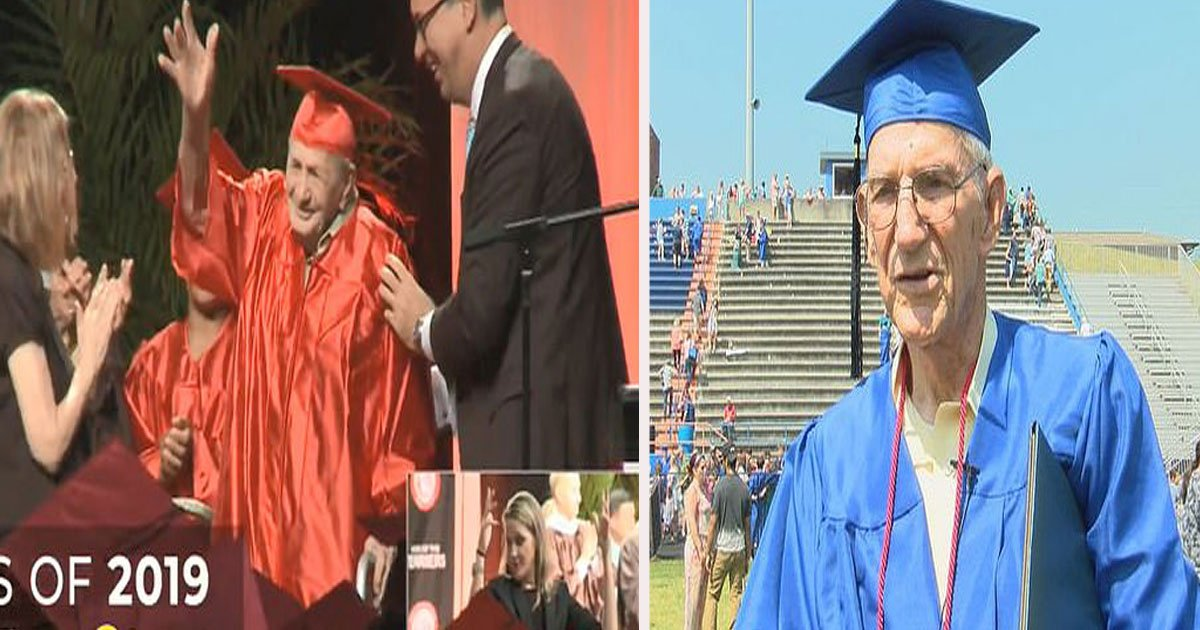 untitled 1 84.jpg?resize=412,232 - Veterans, 95 and 85, Finally Attended Their High School Graduation After Leaving Early 65 Years Ago To Fight In Wars