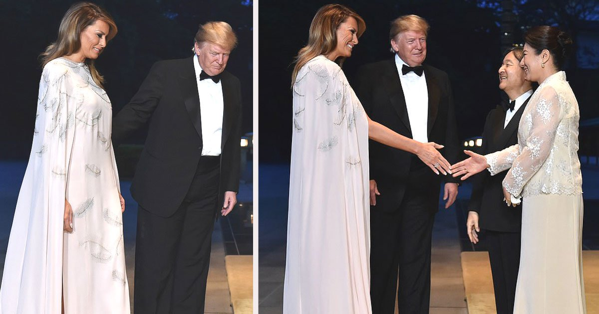 untitled 1 85.jpg?resize=412,232 - Melania Trump Dazzled In A $4,490 J. Mendel Gown For Dinner At The Imperial Palace In Tokyo