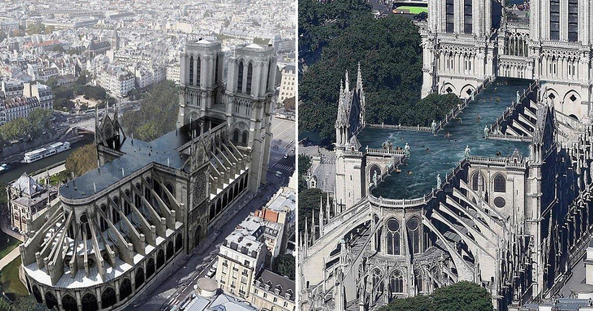 untitled design 74.png?resize=412,232 - Des architectes proposent de construire une grande piscine au sommet de la cathédrale Notre-Dame qui a brûlé