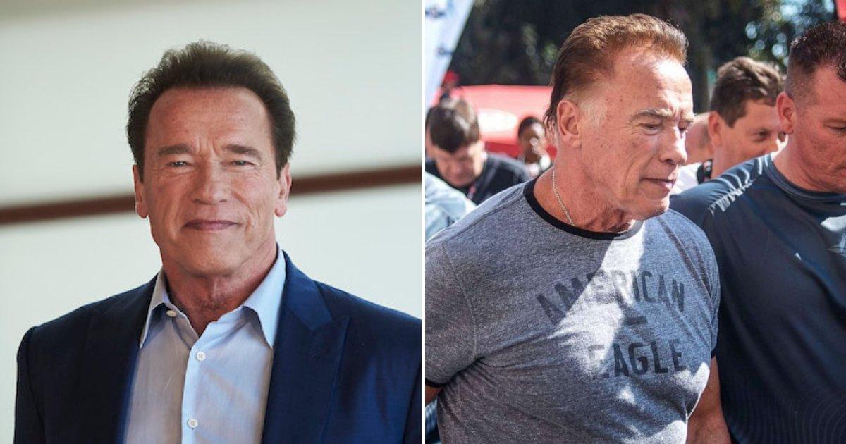 untitled design 95.png?resize=412,232 - Un homme complètement dingue a donné un coup de pied par derrière à Arnold Schwarzenegger lors d'un événement
