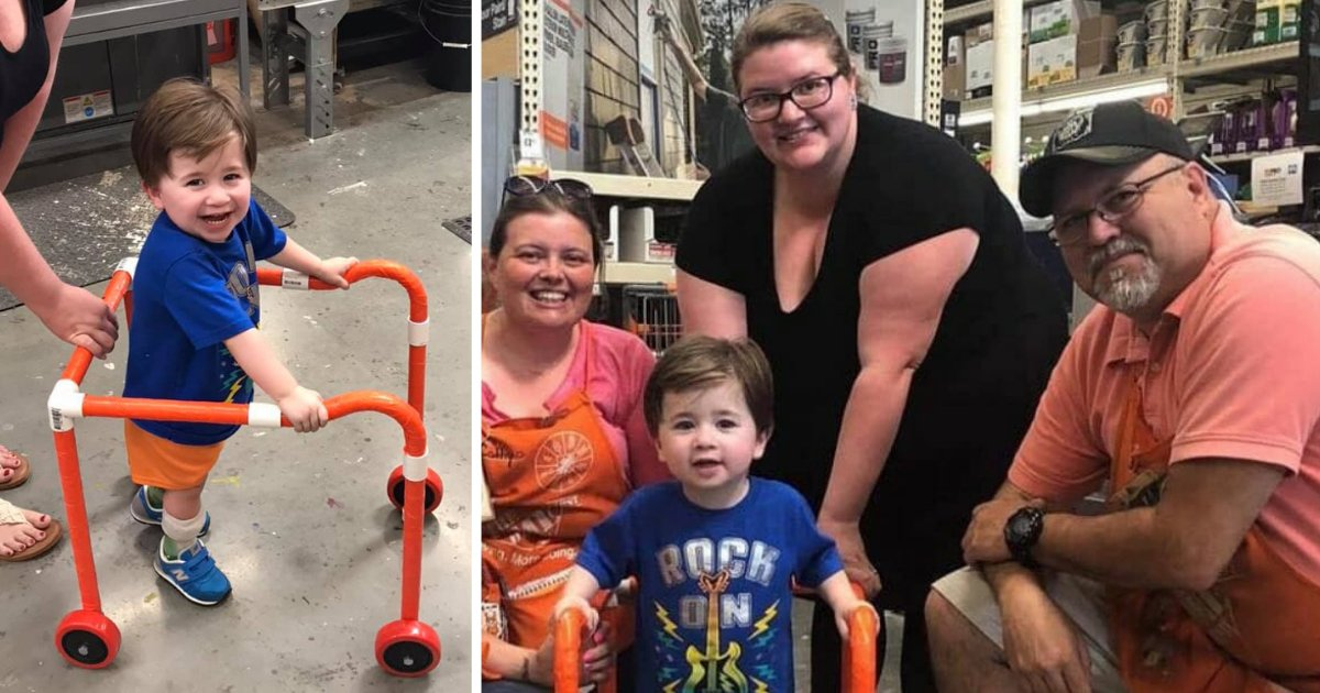 y2 18.png?resize=412,232 - Les employés de d'un magasin de bricolage ont fait la chose la plus gentille pour ce garçon de 2 ans qui souffre d'un trouble musculaire