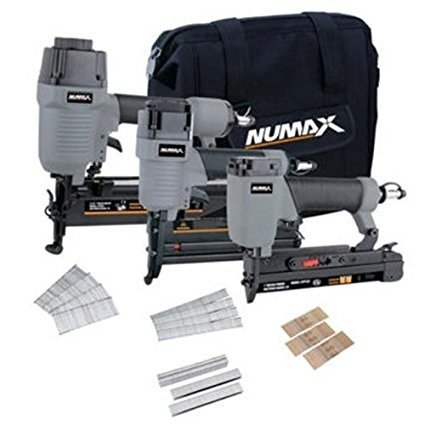 The kit comes with three pneumatic tools: a 2-in-1 gauge brad nailer, an 18-gauge narrow crown stapler, and a 16-gauge straight finish nailer. Price: 8