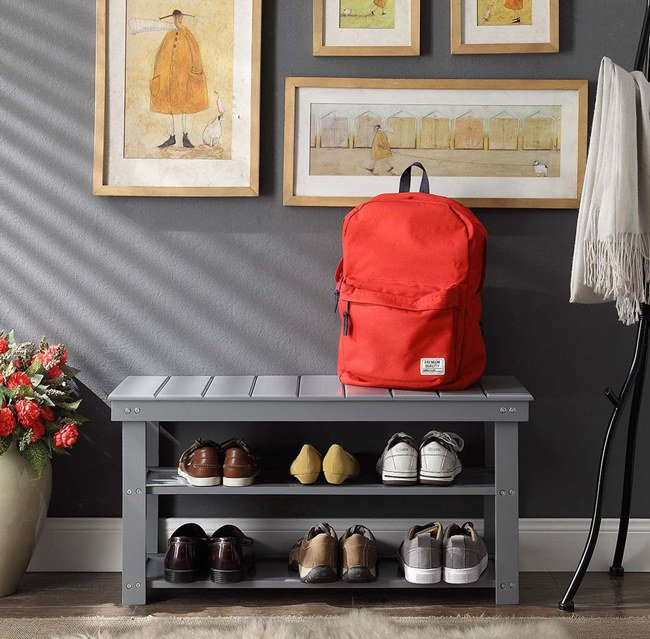"Promising review: ""This is the perfect size for my small entryway! It holds our five pairs of tennis shoes and three pairs of flip-flops perfectly. It could probably fit more shoes on the shelves, depending on what type. But I wanted this to be where we come in at the end of the day and take off our work shoes. I definitely recommend it!"" —Austin Price: .24+ (available in eight colors)"