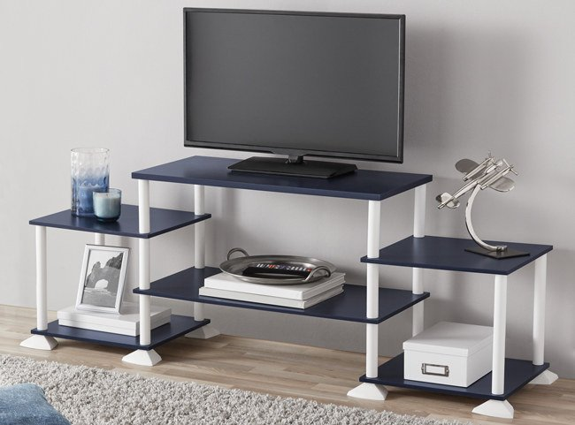 "Promising review: ""This by far is the best entertainment stand I could have purchased from Walmart. It honestly took me seven minutes to put together. All it is is a bunch of twisting on and it's together. I would recommend getting this product."" —Amina