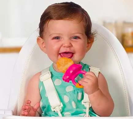 """Promising review: """"I want my baby to be able to feed himself healthy snacks. With this I just throw in a couple of strawberries or grapes and he will be entertained for a while! When I want him to get some protein, I do the same with meat/chicken and he sucks on this thing even longer! When his teeth started growing, I threw in frozen grapes and strawberries to provide a healthy snack and relief for his gums. Yes, I definitely recommend this product."""" —gsanchez123Price: .98"""