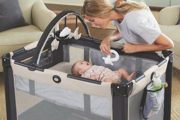 """The bassinet folds in with the play yard for quick packing in the included carrying bag. Promising review: """"Ordered this because we are going on a trip and didn't want to stress about a crib at the hotels. Love the compact package, you would never think the Pack 'n' Play was in there. Is very easy to set up, takes me less than 10 minutes. Instructions are very easy to read and follow. Love that it has two wheels, which make it very easy to move around. The carry bag makes it easy to take anywhere. Baby has been able to nap in it no problem. For now we are using the bassinet which works out great. Love the product!"""" —DGnzGet it from Walmart for .99–.99 (eight colors)."""