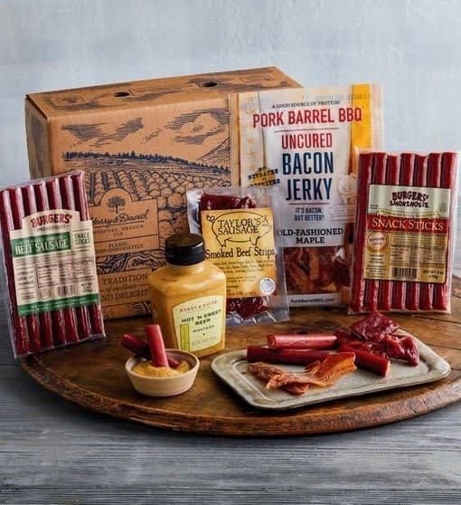 The box includes Taylor's Sausage smoked beef strips, pepperoni snack sticks, beef sausage sticks, uncured old-fashioned maple bacon jerky, and hot and sweet beer mustard to bring it all together. Get it from Harry and David for .99. Check out the rest of their Father's Day gifts.