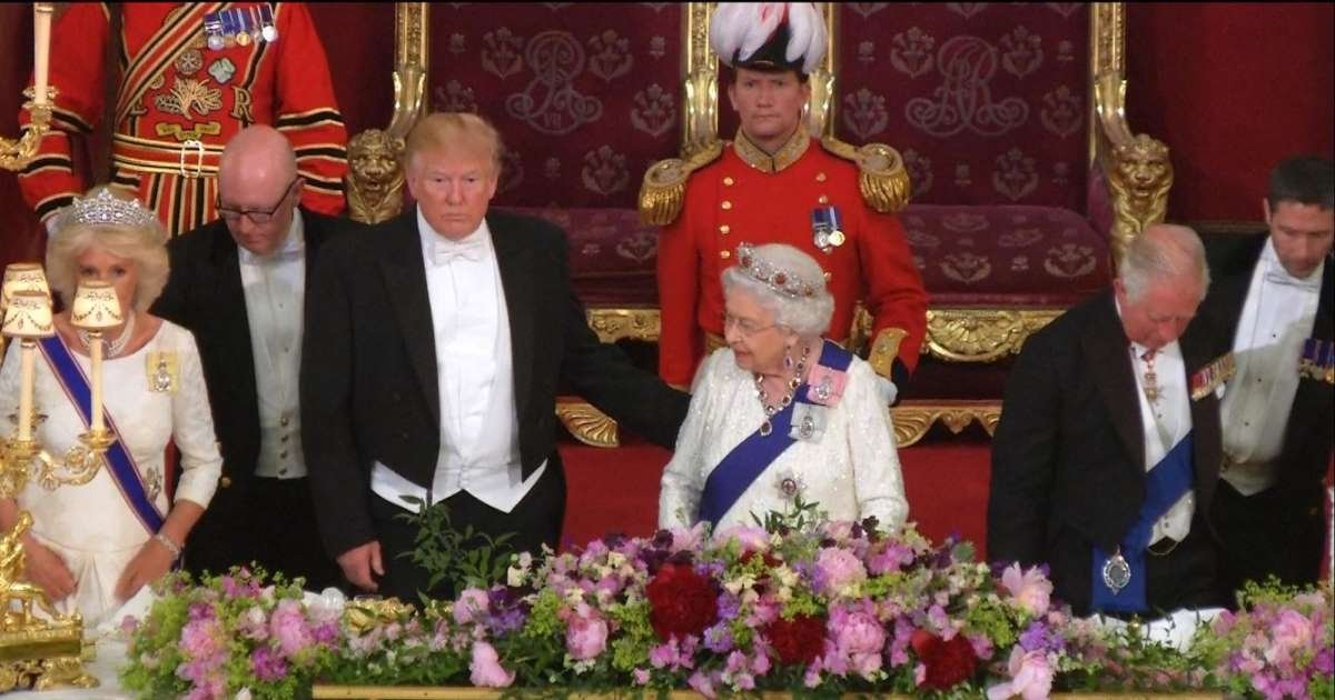 a 5.jpg?resize=1200,630 - Trump Broke The Royal Protocol By Touching The Queen During State Dinner 2019